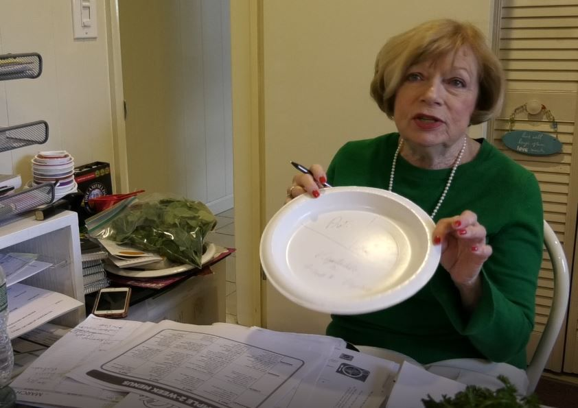 Maryann Meade, registered dietitian of Maryann Meade & Associates, talks about the plate guide and how to portion food.  Ashley Kus, Record-Journal