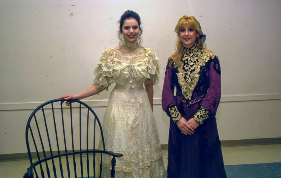 RJ file photo - Politimi Nasiakos and Selina Halepas model two of the dresses that will be seen in the YWCA fashion show, Feb. 1994.
