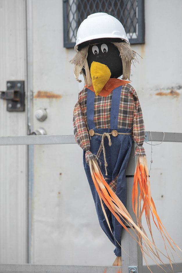A scarecrow placed in front of a trailer on the Mills Memorial apartments demolition site, Mon., Nov. 5, 2018. Dave Zajac, Record-Journal
