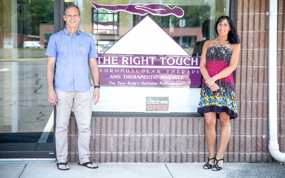 Jessica Pappas, right, took over ownership of Right Touch Massage in Berlin on June 2. Dave Kinney, left, had run the Farmington Avenue business for 12 years and will continue to work there part-time. | Devin Leith-Yessian, The Citizen
