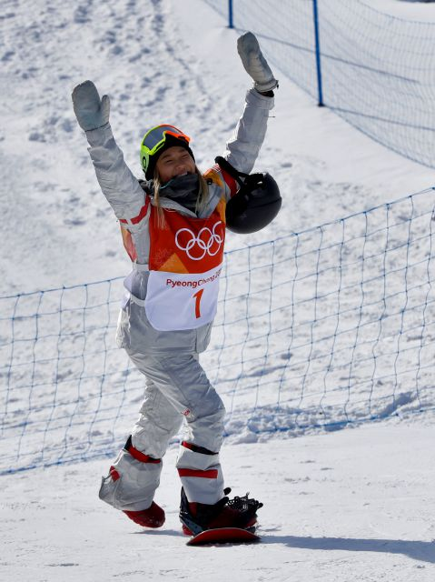 Chloe Kim, of the United States, reacts to fans during the women