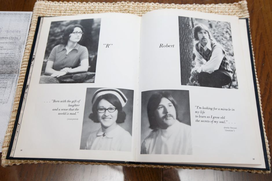 Yearbooks from the Meriden-Wallingford Hospital School of Nursing on Cook Ave. Tuesday at the Hamelin home in Meriden September 4, 2018 | Justin Weekes / Special to the Record-Journal