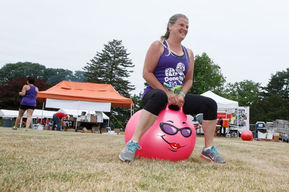 Tammi Laudate of Naugatuck tries out a hippity hop in the kids area Saturday during the 5th annual Gaylord Gauntlet 5k Trail & Obstacle Race at Gaylord Hospital in Wallingford June 23, 2018 | Justin Weekes / Special to the Record-Journal