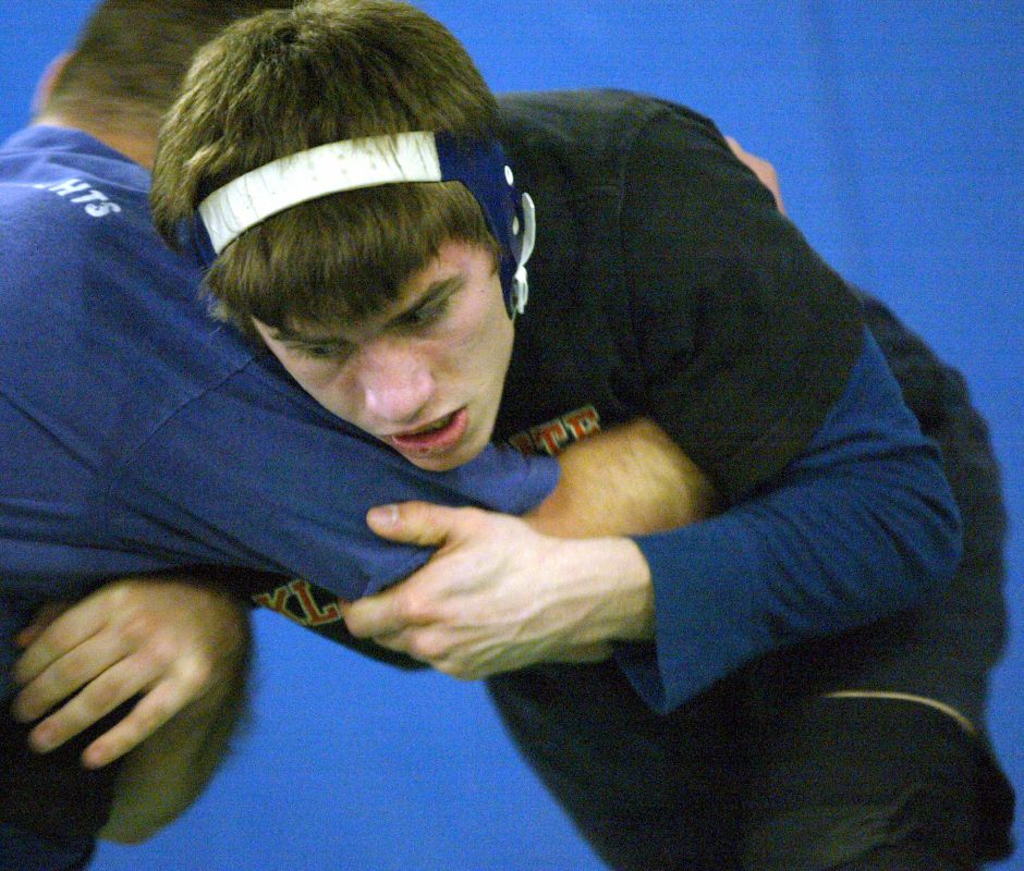SOUTHINGTON, Connecticut - Tuesday, February 24, 2009 - Southington wrestler Mike Monson, newly crowned Class LL 160-pound champion, practices on Tuesday, Feb. 24 in the school