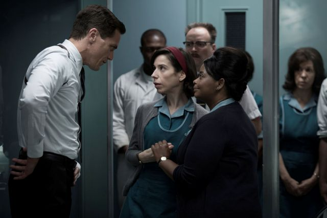 "This image released by Fox Searchlight Pictures shows Michael Shannon, from left, Sally Hawkins and Octavia Spencer in a scene from the film, ""The Shape of Water."" Guillermo del Toro"