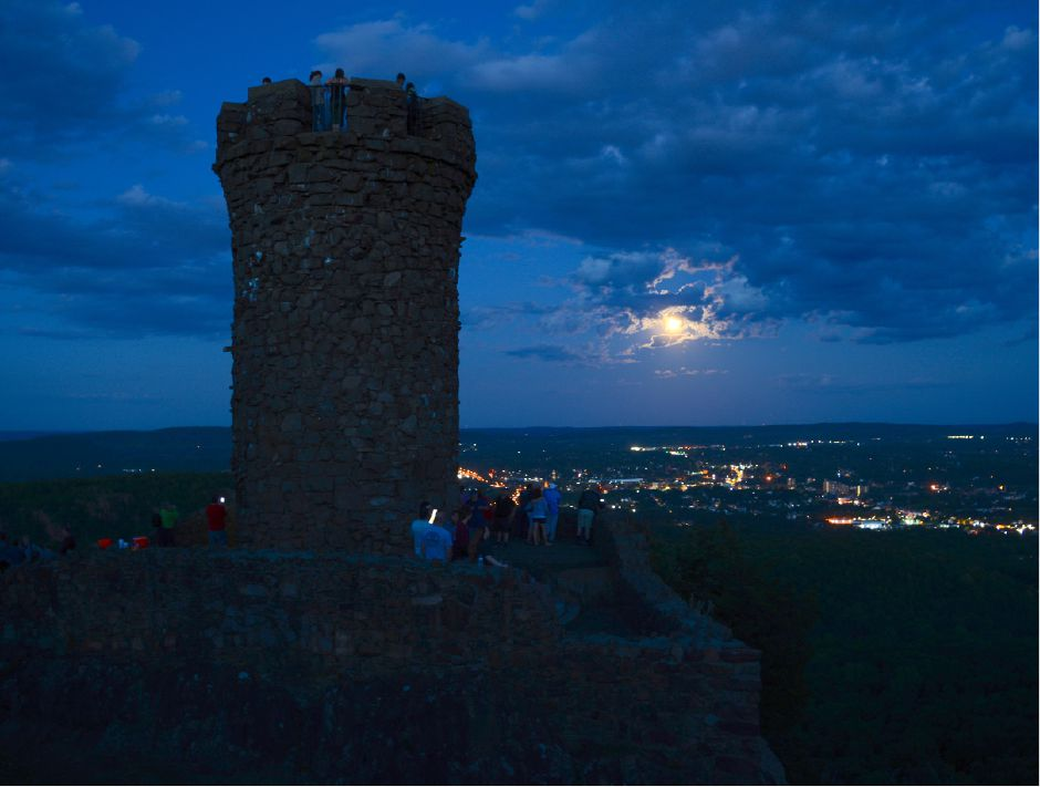 A full moon rises next to Castle Craig in Meriden on Friday, June 9, 2017. | Bryan Lipiner, Record-Journal