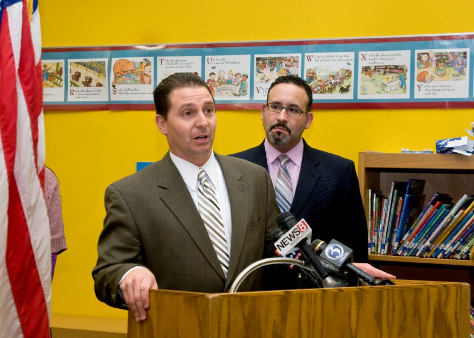 Meriden Superintendent Mark Benigni and Hanover School principal Miguel Cardona address the media and answer questions regarding the four-year-old special needs student who brought marijuana to school, January 24, 2012. Benigni said this was an isolated incident and the student was unaware of what he had brought to school. (Sarah Nathan/Record-Journal)
