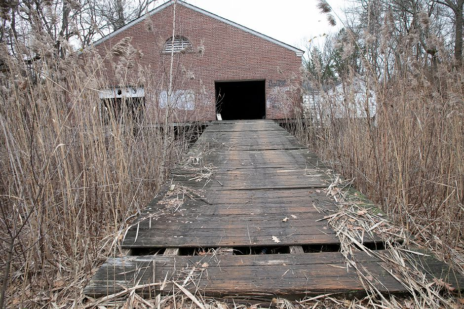 A wooden ramp in disrepair behind the former Choate boathouse at 320 Washington St. in Wallingford, Mon. Nov. 26, 2018. Dave Zajac, Record-Journal