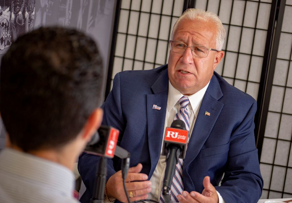 Republican candidate Rich Dupont talks with Record-Journal editor Mike Savino about running for the U.S. 5th District. | Richie Rathsack, Record-Journal