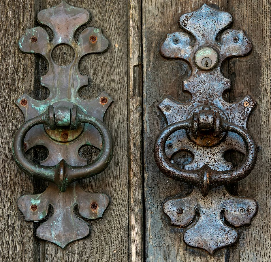 Door knockers on the front entrance of the former armory on East Main Street in Meriden, Wednesday, July 18, 2018. Work on the Trail of Terror