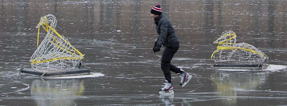 Eric Gatter, of Meriden, skates around decorations on Mirror Lake at Hubbard Park in Meriden, Monday, Jan. 15, 2018. For the first time in more than 10 years, Hubbard Park is open to public skating. Dave Zajac, Record-Journal