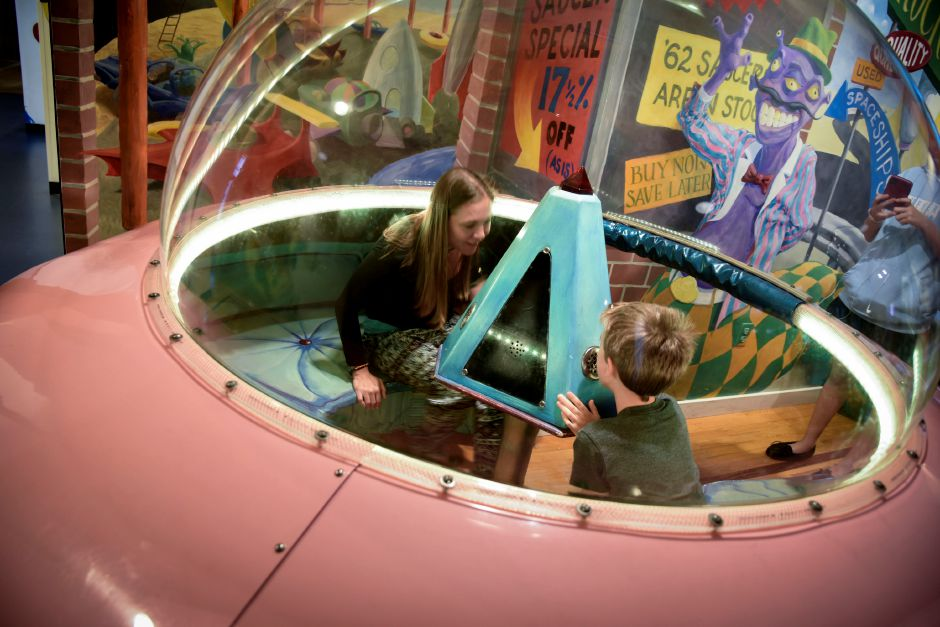 East Haddam residents Sarah Walls and her son, Izeah Walls, 7, play together at Kidcity on Tuesday. The  museum fosters imagination in both children and adults and the relationships they build while playing.