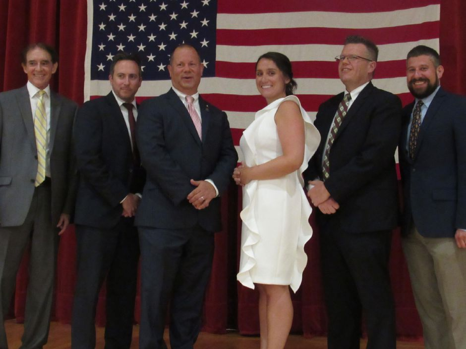 Mayor William W. Dickinson Jr., left, and the slate of Republican candidates for Wallingford Town Council, endorsed at the Republican Town Committee caucus at Dag Hammarskjold Middle School, July 17, 2019. From left: Tom Laffin, Craig Fishbein, Christina Tatta, Christopher Shortell, Joseph Marrone III. Absent: Vincent Cervoni. | Lauren Takores