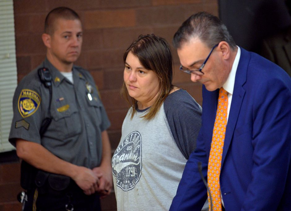 FILE – Karin Zoilkowski is arraigned in Meriden Superior Court on murder charges for the death of her 8-year-old son, Elijah. She is shown with her attorney, John DelBarba, right in Nov. 2017. Peter Casolino/ Special to the Courant