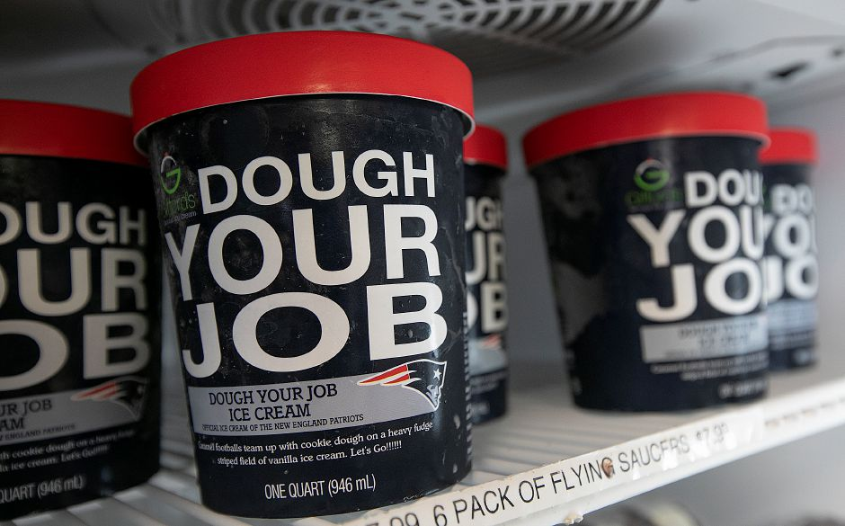 "Quarts of ""Dough Your Job,"" a New England Patriots inspired ice-cream flavor now available at Pat"