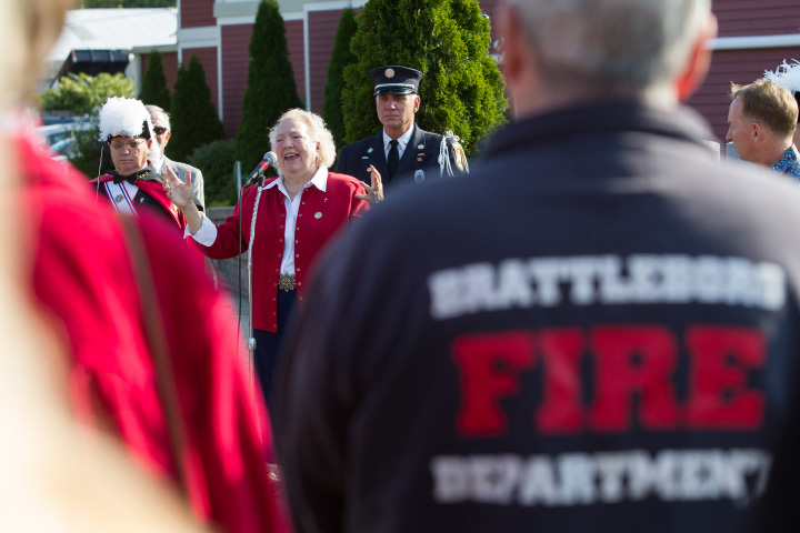 Dale Shipp formally of the Brattleboro VT Fire Department joins Councilor Victoria Triano in Amazing Grace Monday during a 9/11 memorial remembrance ceremonies at the Farmington Canal Heritage Trail 9/11 Memorial in Plantsville  September 11, 2017 | Justin Weekes / For the Record-Journal