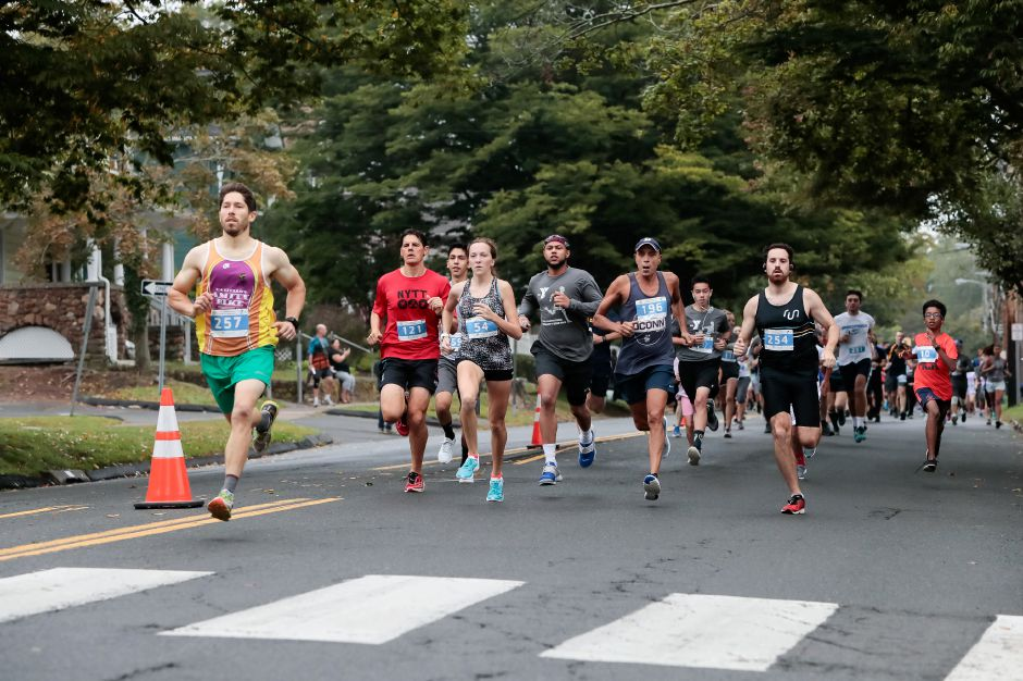 Runners at the start Sunday during the Fishbein/YMCA Community Road Race in Wallingford October 7, 2018 | Justin Weekes / Special to the Record-Journal