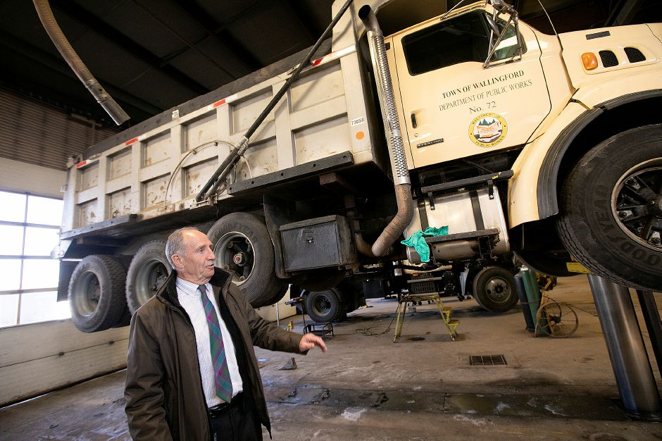 Henry McCully, director, gives a tour Wednesday of the Wallingford Public Works Department on Town Farm Road. McCully is retiring after more than 36 years with the department. Dave Zajac, Record-Journal