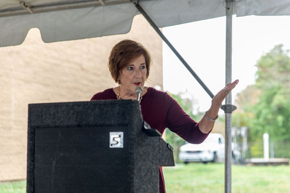 Plainville Town Council Chairperson Katherine Pugliese speaks at the groundbreaking ceremony for Plainvilles Water Pollution Control center upgrade on Oct. 9, 2018. The upgrade will reduce the amount of phosporus the plant discharges into the Pequabuck River and increase resilience from flooding. | Devin Leith-Yessian/Plainville Citizen