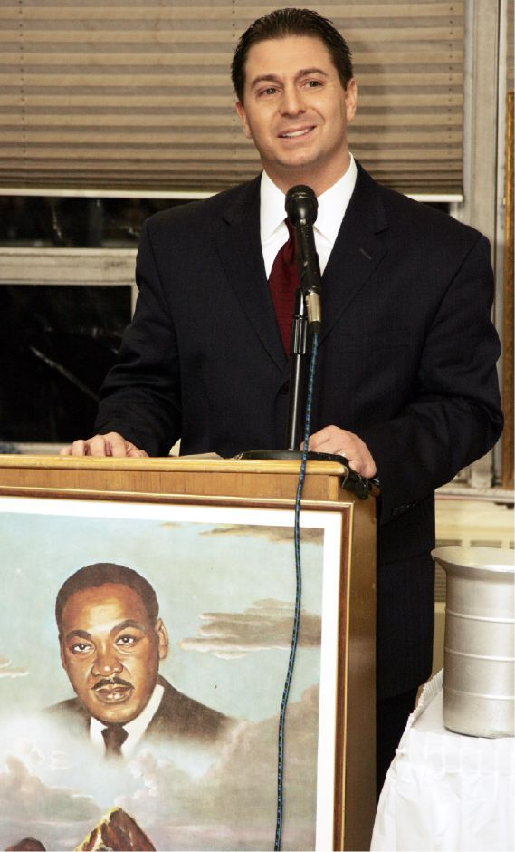 Mayor Mark Benigni speaks during the annual MLK/Albert Owens Breakfast at Maloney Mon., Jan. 16, 2006.