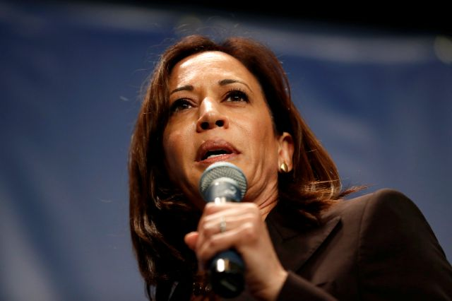 Democratic presidential candidate Kamala Harris speaks during the Iowa Democratic Party