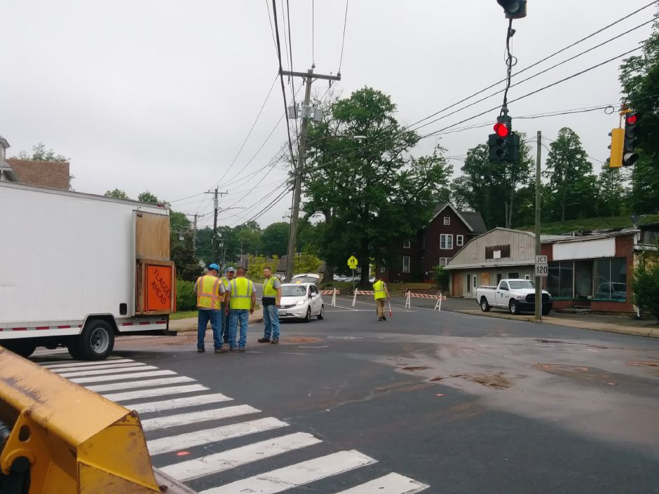 A water main break has closed a section of Route 10 in town. | Jeniece Roman, Record-Journal