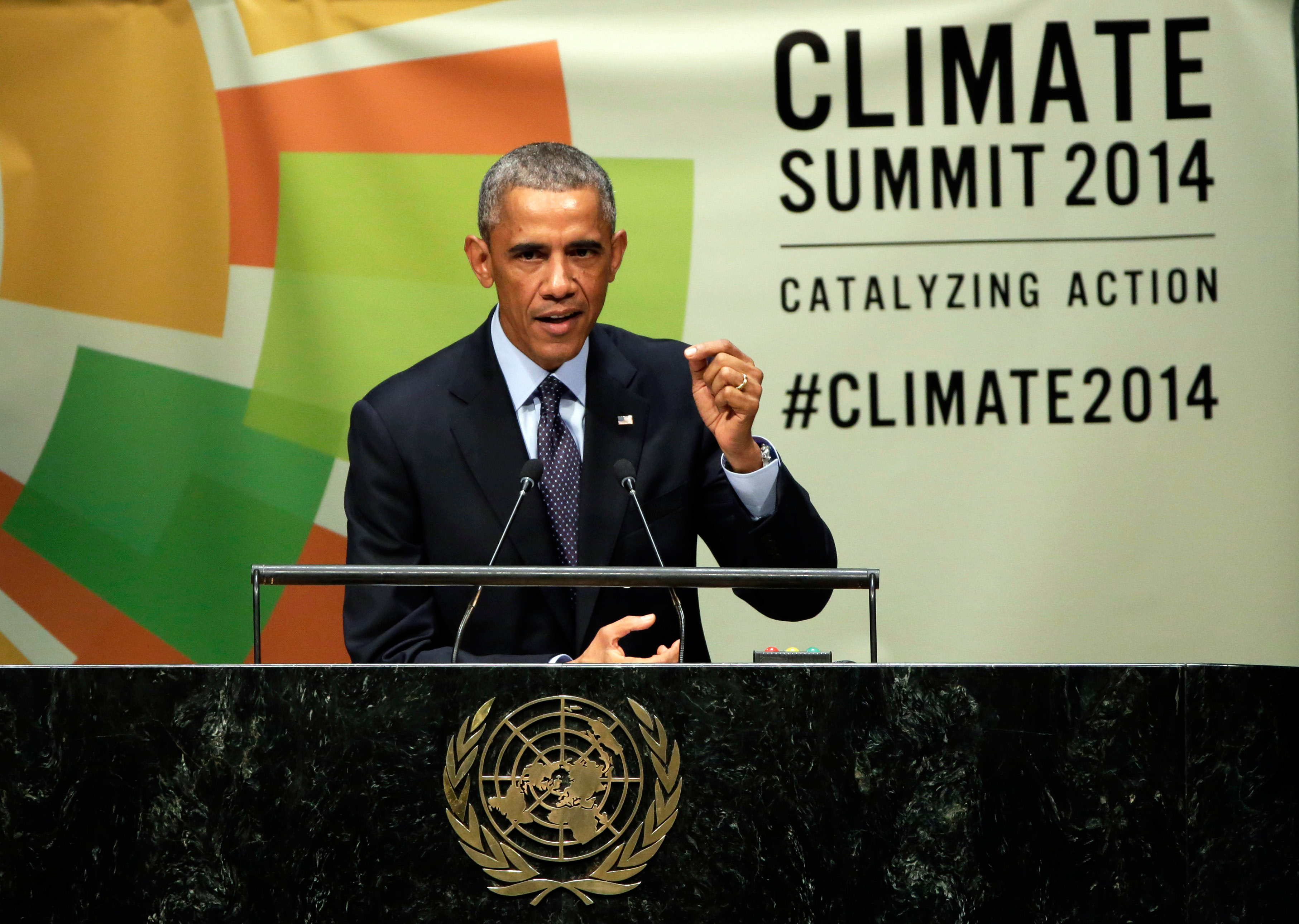 FILE - In this Sept. 23, 2014 file photo, President Barack Obama addresses the Climate Summit, at United Nations headquarters. President Barack Obamas ambitious efforts to combat global warming face their biggest trial yet as Republicans take full control of Congress in 2015. Republicans have promised to start fast and forceful, sending Obama a barrage of bills to roll back his environmental rules and force his hand on energy development. Its the first order of business for GOP leaders, who will be able to send bills to Obamas desk unimpeded by Senate Democrats for the first time in Obamas presidency. (AP Photo/Richard Drew, File)