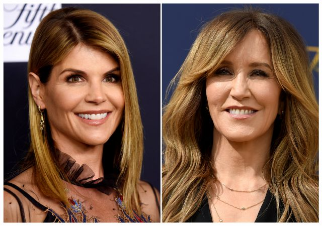 This combination photo shows actress Lori Loughlin at the Women