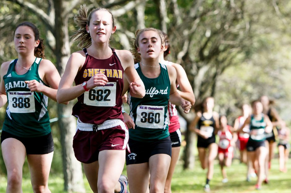 Sheehan sophomore Liz Brown (682) won three events at Tuesday's SCC tri-meet with West Haven and Amity in Woodbridge. | Justin Weekes / Special to the Record-Journal