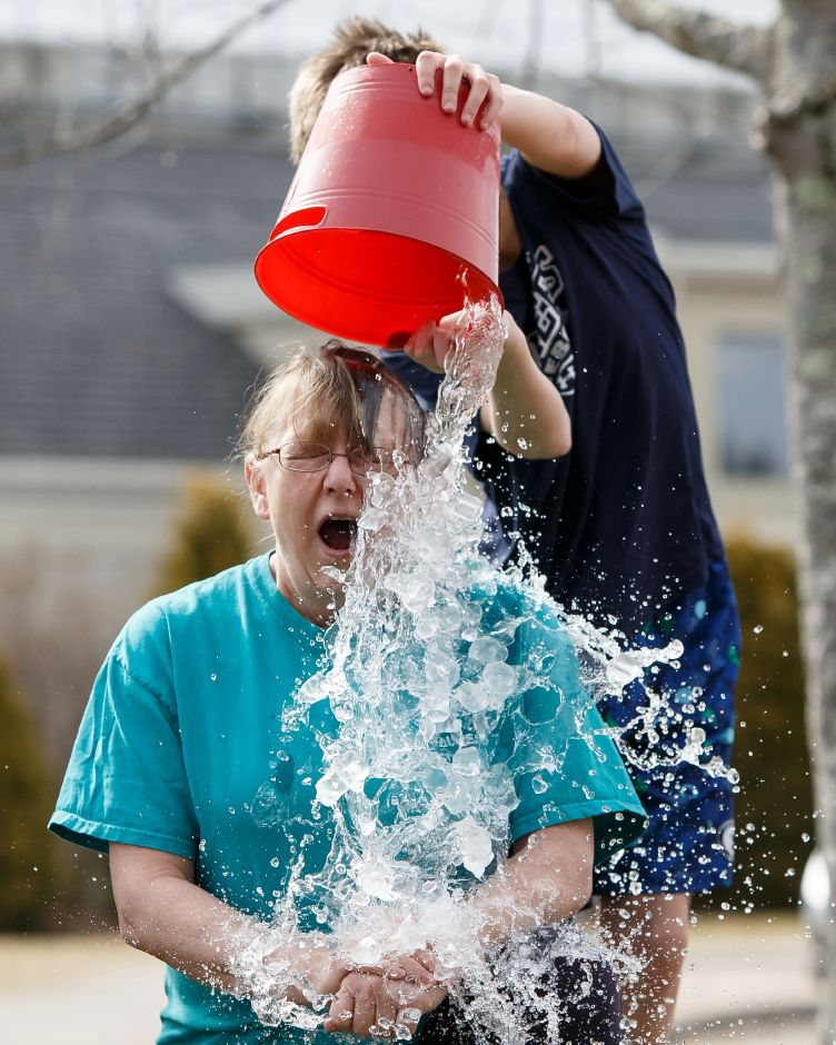 Leslie Lowry reacts to the cold water Saturday during the 4th Annual Ice Bucket Challenge to raise money for Camp Quinnipiac at Bartlem Park in Cheshire February 24, 2018 | Justin Weekes / Special to the Record-Journal