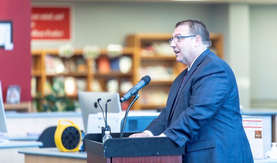 Berlin Superintendent of Schools Brian Benigni speaks at a ceremony for Berlin High School teacher David Bosso's induction into the National Hall of Fame on Tuesday, April 2, 2019. | Devin Leith-Yessian/Berlin Citizen