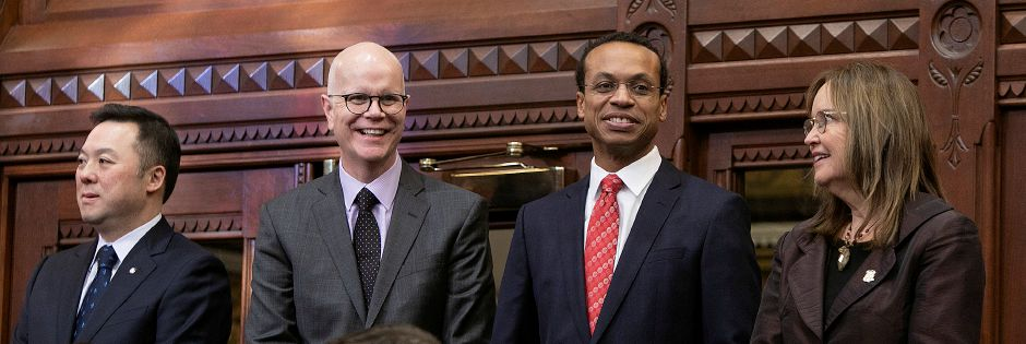 Left to right, Attorney General William Tong, Comptroller Kevin Lembo, Treaurer Shawn Wooden and Secretary of the State Denise Merrill during opening day of the legislative session in Hartford, Jan. 9, 2019. | Dave Zajac, Record-Journal