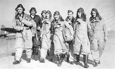 The first British fighter squadron composed entirely of United States pilots soon will-take its place on the front line of Britain's defenders. The unit is known as the eagle squadron and is headed by squadron leader William E. G. Taylor of fort Leavenworth, Kan. Members of the group in training somewhere in England, Oct. 22, 1940. (AP Photo)
