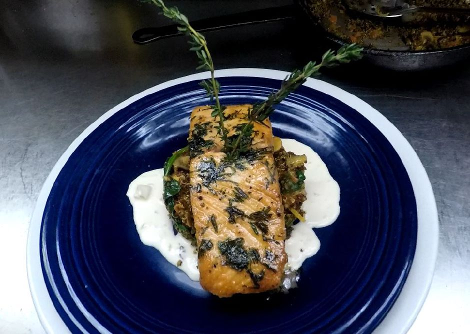 A salmon dish served at Ola Restaurant.