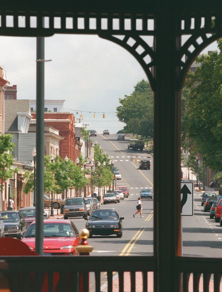 RJ file photo - Looking up Center Street from the gazebo in Johanna Manfreda Fishbein Park, August 1998.