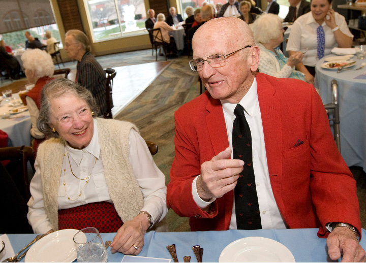 Dave and Lucia Powell, of Cheshire, married for 62 years, enjoy the Winter Wonderland Senior Citizen Prom hosted by members of the Quinnipiac University Student Nurses Association on Friday.