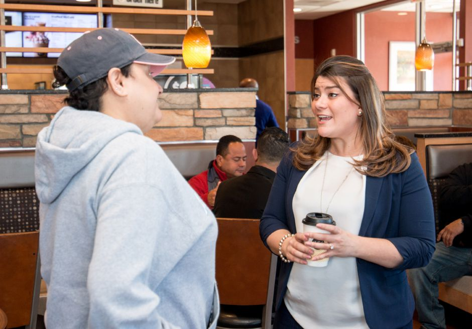 New Britain mayor and GOP lieutenant governor Erin Stewart, third from left, held a fundraiser for her campaign, then for the governor's race, at the Broad Street McDonalds in Meriden on March 31, 2018. | Devin Leith-Yessian / Record-Journal