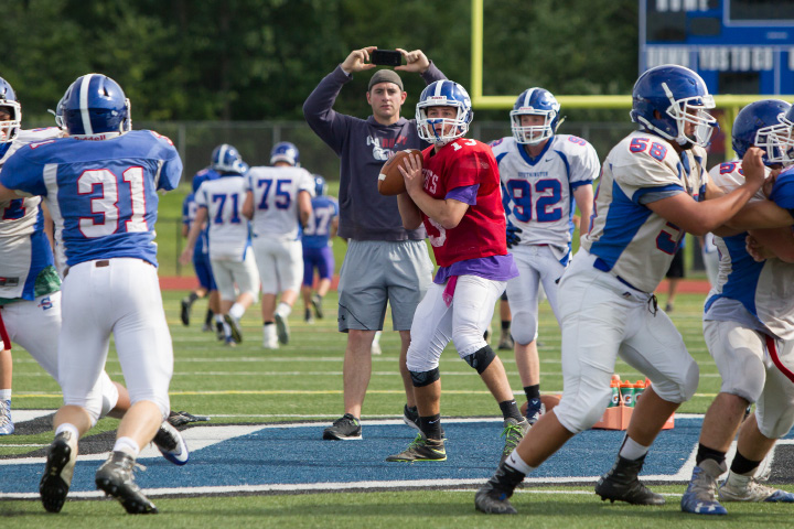 Southington senior quarterback Will Barmore looks for a receiver during practice. Last year, in his first season as starting QB, Barmore completed 142 of 242 passes for 1,815 yards and 24 touchdowns.