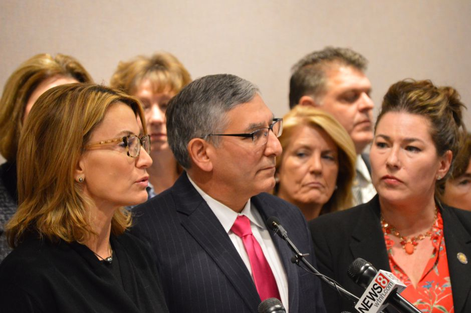 House Minority Leader Themis Klarides, R-Derby, and Senate Republican Leader Len Fasano, R-North Haven, address reporters (file photo).