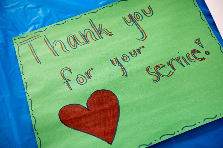 A thank-you note to veterans written by students during a Veterans Day Celebration at Cheshire High School, Friday, Nov. 10, 2017. | Dave Zajac, Record-Journal