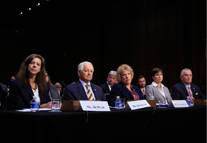 From left, Tennessee Department of Commerce and Insurance Commissioner Julie Mix McPeak, Washington State Insurance Commissioner Mike Kreidler; Alaska Division of Insurance Director Lori Wing-Heier; Insurance Commissioner of Pennsylvania Theresa Miller and Oklahoma Department of Insurance Commissioner John Doak, testify during a Senate Health, Education, Labor, and Pensions Committee hearing on the individual health insurance market for 2018 on Capitol Hill in Washington, Wednesday, Sept. 6, 2017. (AP Photo/Manuel Balce Ceneta)