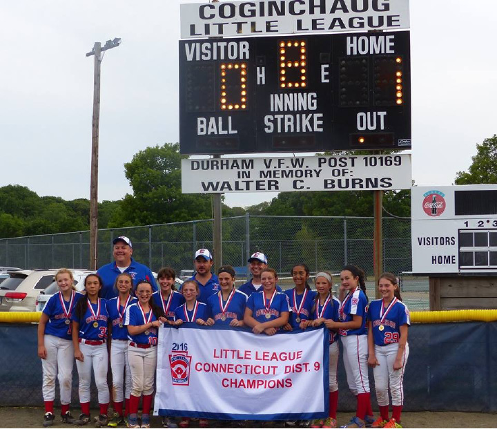 The champs, from left, Grace Hughes-Conway, Alex Fitzpatrick, Audrey Labasi, Jackie Kelly, Ava Marenna, Amanda Case, Erin Donlan, Amalia DeMartino, Rhea Patel, Allison Strang, Caroline Smith, Emma Ufferfilge. Coaches, from left, Roger Conway, John Kelly, Steve DeMartino (manager).