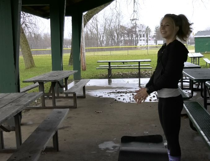 Kristen Dearborn, Wallingford resident and NASM certified personal trainer, demonstrates easy ways to stay fit in the new year. |Ashley Kus, Record-Journal