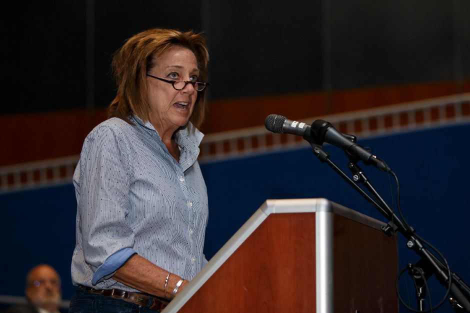 Meriden resident Laurie Russell Thursday during a public hearing with the Meriden Finance Committee to speak about the tax increase at Lincoln Middle School in Meriden August 9, 2018 | Justin Weekes / Special to the Record-Journal