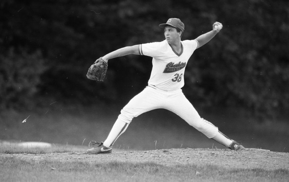 RJ file photo - Cheshire pitcher Kevin Strollo on the mound against Waterbury July 12, 1989.