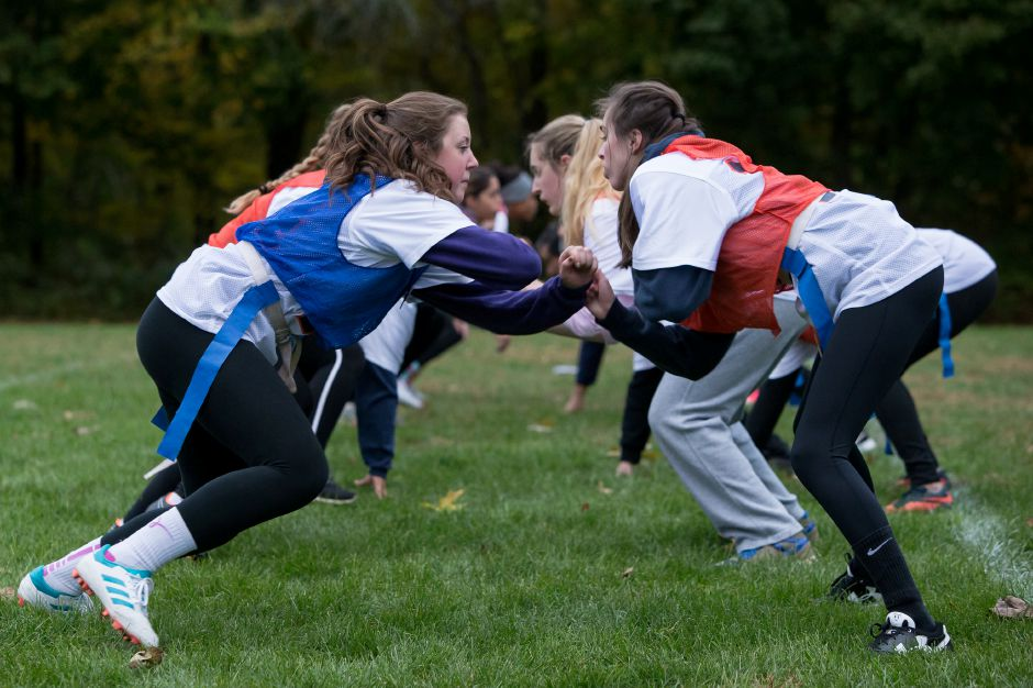 Lyman Hall's Sarah Beverage, left, and Haley Blier square off in a blocking drill Sunday during powder puff practice at Lyman Hall High School in Wallingford.Photos by Justin Weekes, special to the Record-Journal