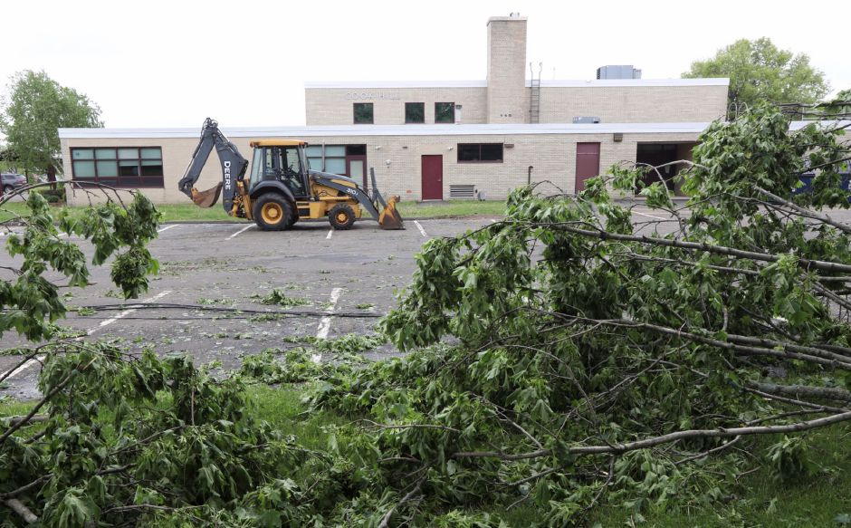 Fallen trees and downed wires at Cook Hill Elementary School in Wallingford, Thursday, May 17, 2018. | Dave Zajac, Record-Journal