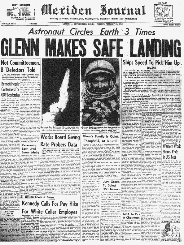 The Feb. 20, 1962, front page of the Meriden Journal depicts John Glenn's orbit around the earth. Check out this and other historic Record-Journal front pages on MyRecordJournal.com —http://trib.al/NtBQOII
