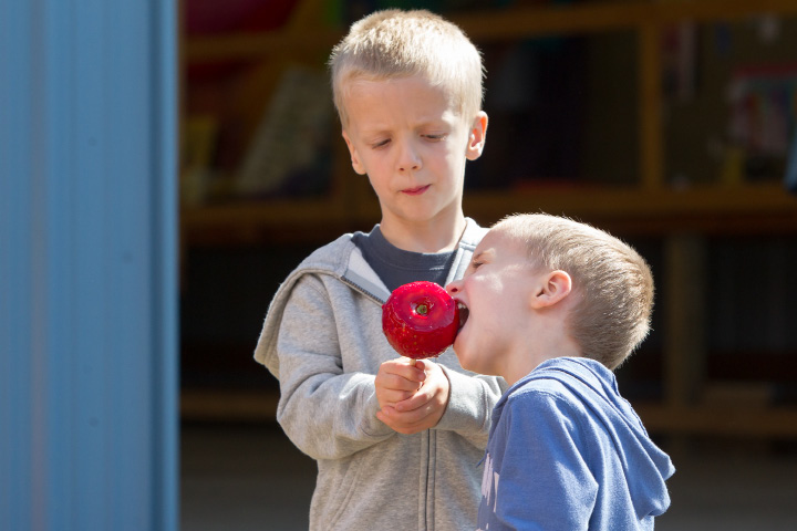 Daniel Candelora 4 of Madison holds a candied apple for his brother Nathan 3 Sunday during the 75th Annual North Haven Fair in North Haven September 10, 2017 | Justin Weekes / For the Record-Journal