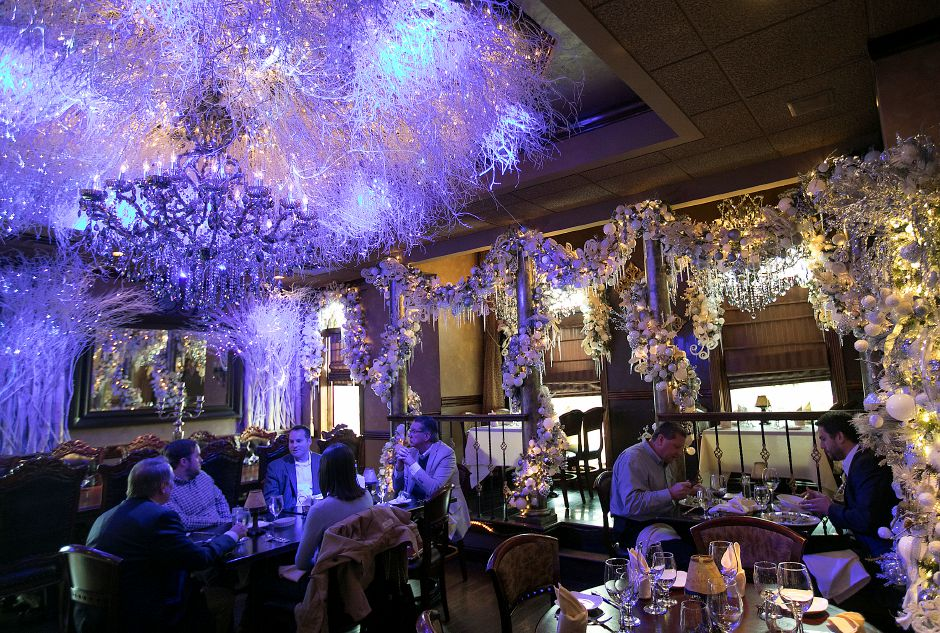 Patrons of Cava Restaurant in Southington have lunch in the Ice Ballroom, Thursday, Nov. 30, 2017. Manager Tony Papahristou has designed an all new holiday display with a variety of themes this year at the West Street business. Dave Zajac, Record-Journal